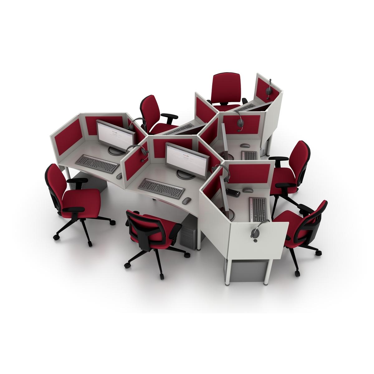 meble biurowe do call center czerwone